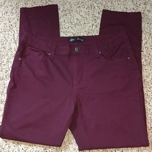Love indigo skinny jeans, size 14, burgundy color
